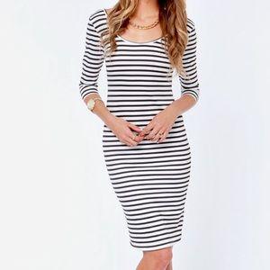 Stripe a Pose Black & White Striped Bodycon Dress